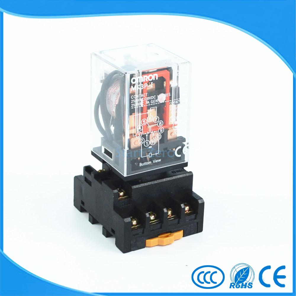 цена на MK3P-I AC 220V Coil 11 Pins Electromagnetic Relay With PF113A Socket Base