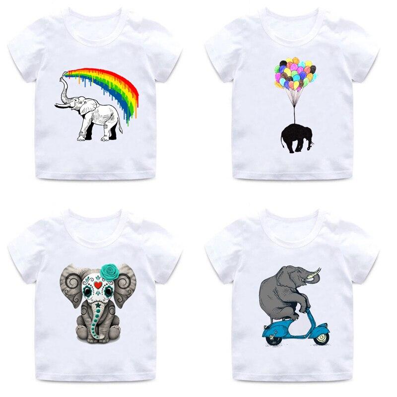 Детская Милая футболка для езды на мотоцикле с изображением слона 3D рубашка с изображением слонов для мальчиков и девочек Мягкая Повседнев...