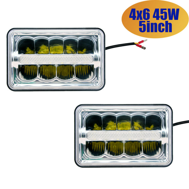 4x6 45w Rectangle Auto Light LED Headlight 4x6 Inch Sealed Beam Headlamps High Low Lamp Replacement HID Xenon H4651 H4652