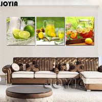 Home Fruit Kitchen Decoration Modern Wall Painting Lemon Tea Canvas Picture For Living Room Cuadros Set