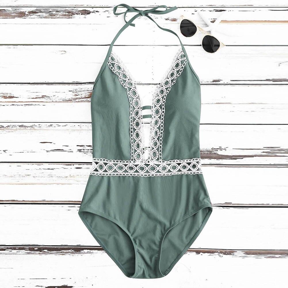 Sexy Women Halter One Piece Swimsuit Swimwear Monokini Lace Splice Bathing Suit Summer Beach Wear BB55