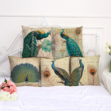Retro peacock printed cotton and linen sofa soft cushion cushion pillow pillow bedroom car cushion pillow cover цена в Москве и Питере