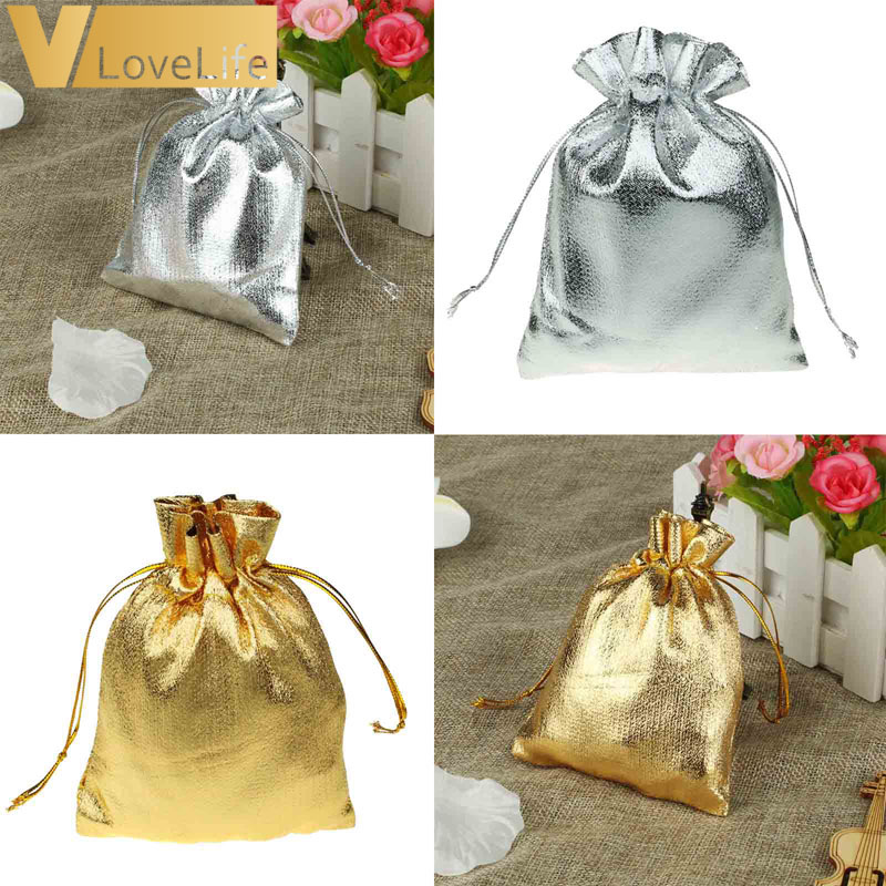 50pcs Organza Pouches Wedding Party Candy Bags Gold Silver Metallic Foil Gifts Box Christmas Tree Decorations Wholesale
