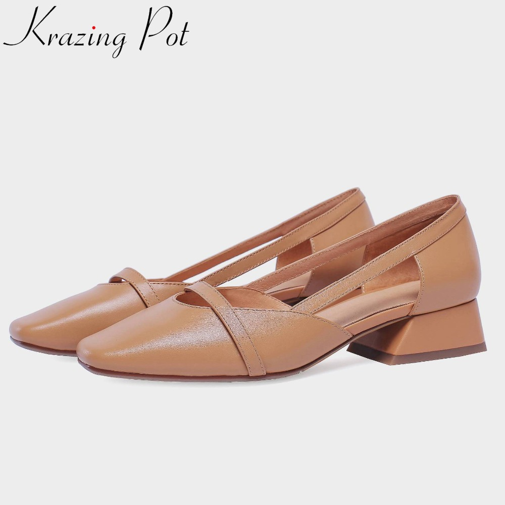 Krazing Pot Sping genuine leather office lady British style chunky low heels hollow women pumps big