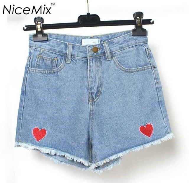 NiceMix 2017 Летом Деним Короткие Sweet Heart Вышивка Вскользь Уменьшают Женщины Короткие Pantalon Femme Высокой Талией Джинсы Шорты