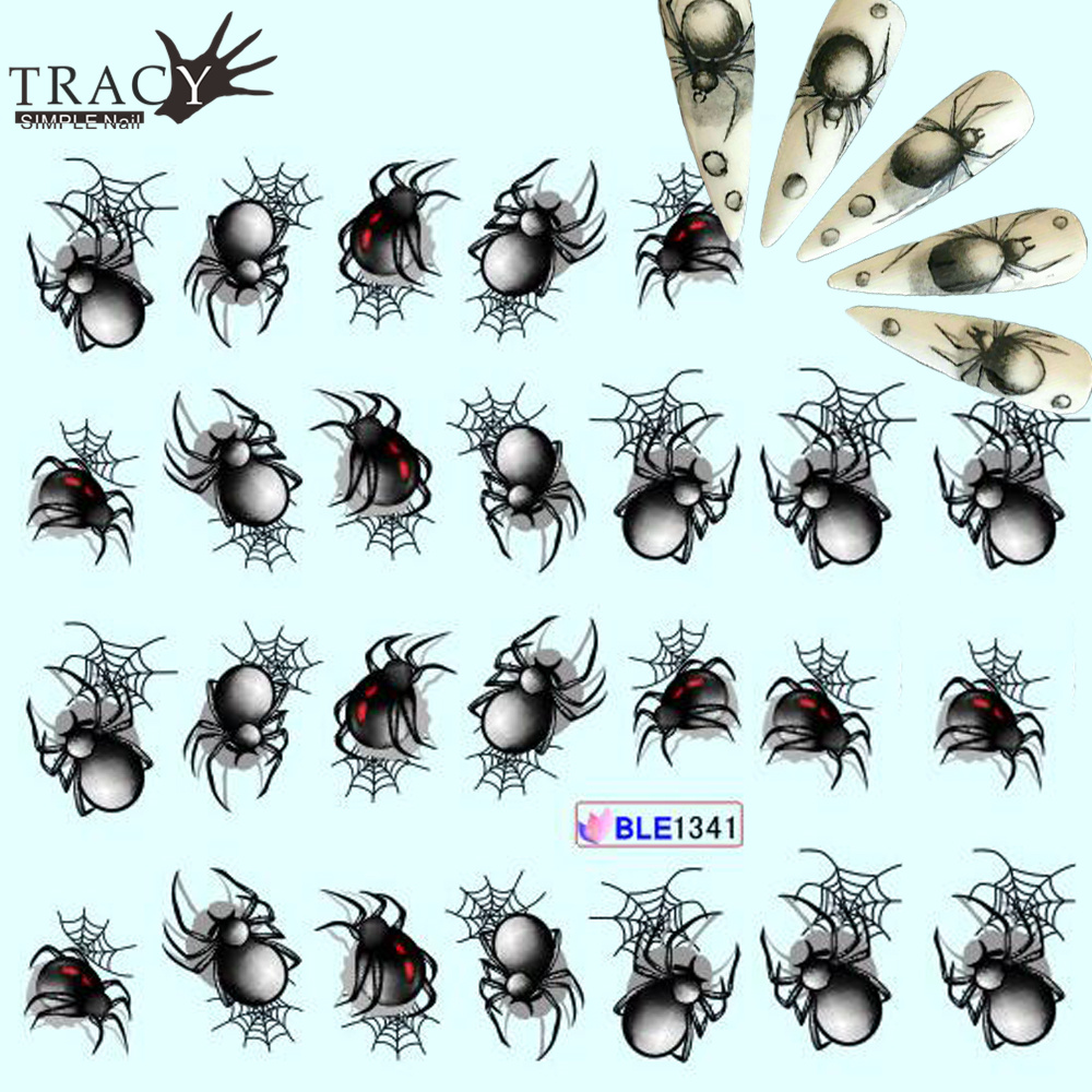tracy simple nail 1x new cute black spider designs water decals nail art wraps manicure. Black Bedroom Furniture Sets. Home Design Ideas