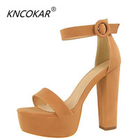 KNCOKAR 2018High heels with thick heels show slim heels sexy nightclub women's shoes waterproof platform toe belt buckle sandal