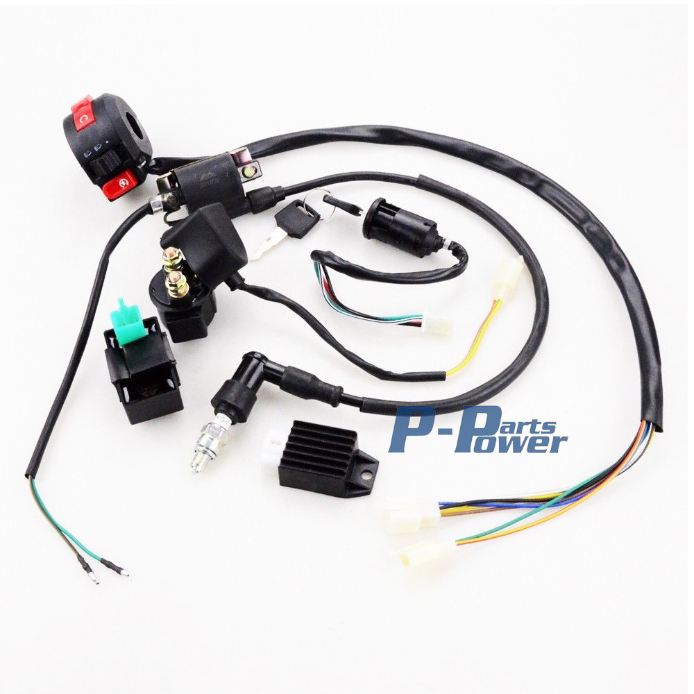 COMPLETE WIRE HARNESS WIRING ASSEMBLY for Chinese ATV QUAD 50CC 70CC 90CC  110CC Item Condition: Brand New Package Included: Quad Wire harness