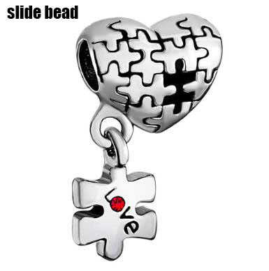 Fit Pandora charm bracelets Autism Awareness Heart Charm Bracelet Dangle Love Red Crystal Charm Beads beads for jewelry making