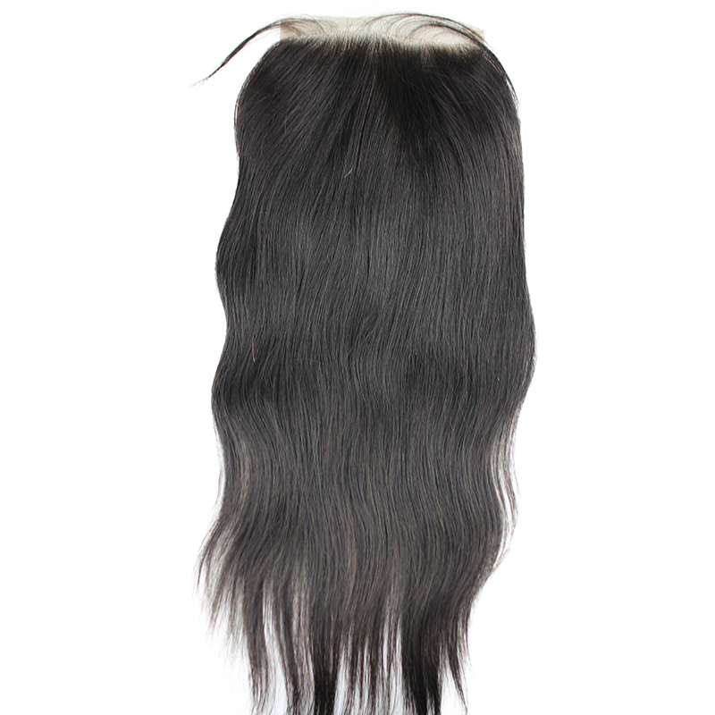 Eseewigs 5x5 Human Hair Lace Closure Natural Straight Closure with Baby Hair Pre Plucked Free Middle Three Part Swiss Lace Remy