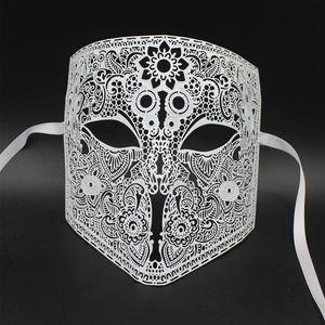 Image 2 - GNHYLL Full Face Bauta Phantom Cosplay Venetian Masquerade Mask Black Skull Halloween Shield Mardi Gras Metal Party Mask