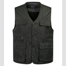 new Autumn&Winter men Multi-pocket  Man Lambs wool lining Vest Jacket Warm Thicken Gilet vests Plus Size S-4XL