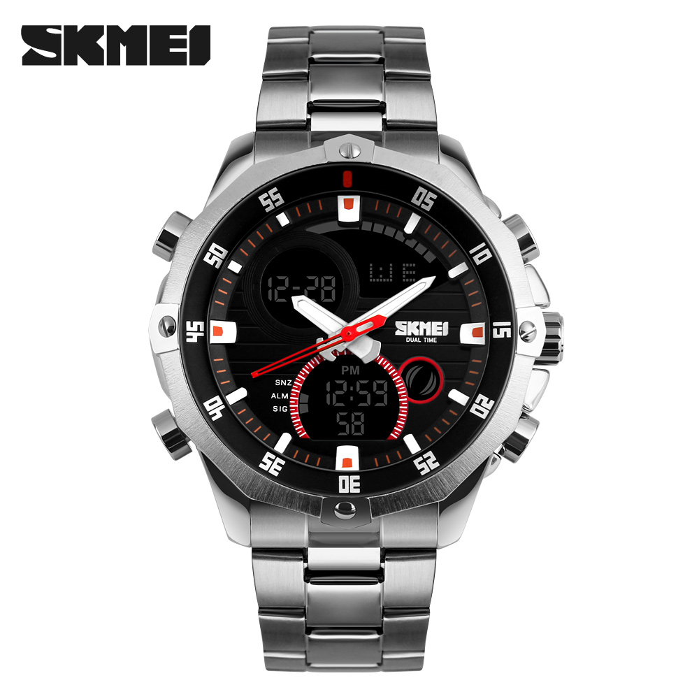 Luxury Brand Skmei Men's Watches Multifunction Army Military Digital Analog Quartz Date LED Stainless Steel Sport Wrist watch mens luxury sports stainless steel digital led military date quartz wrist watch