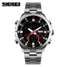 Skmei Marca de luxo dos homens Relógios Multifunções Militar Do Exército Digital Analógico Quartz Data de Aço Inoxidável LED relógio de Pulso Esporte