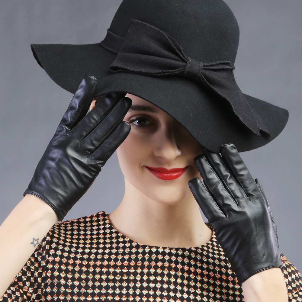 Ladies real leather gloves - Women Full Fingers Leather Driving Gloves Modal New Sex Pole Dancing Lady Gaga Rivet Supple Nappa Mittens