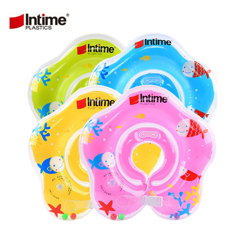 Intime 8-24 Months Baby Swim Rings Inflatable Thickening Adjustable Collar Kid Wheel Swimming Pool Air Mattresses