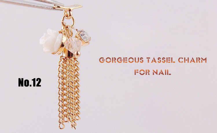 10 個最新の高級ゴールド 3d ファッション合金ネイルアートペンダント装飾金属タッセルチェーンジェルポリッシュアクセサリーネイルアートジュエリー