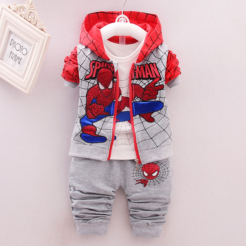 2018 New Style Baby kids Clothing 3pcs Suit/set Children Spiderman Long Sleeves T-shirt+Patchwork Pants Sets Free Shipping retail design children clothing set for kids girl dark blue cardigan t shirt pink skirt high quality 2014 new free shipping
