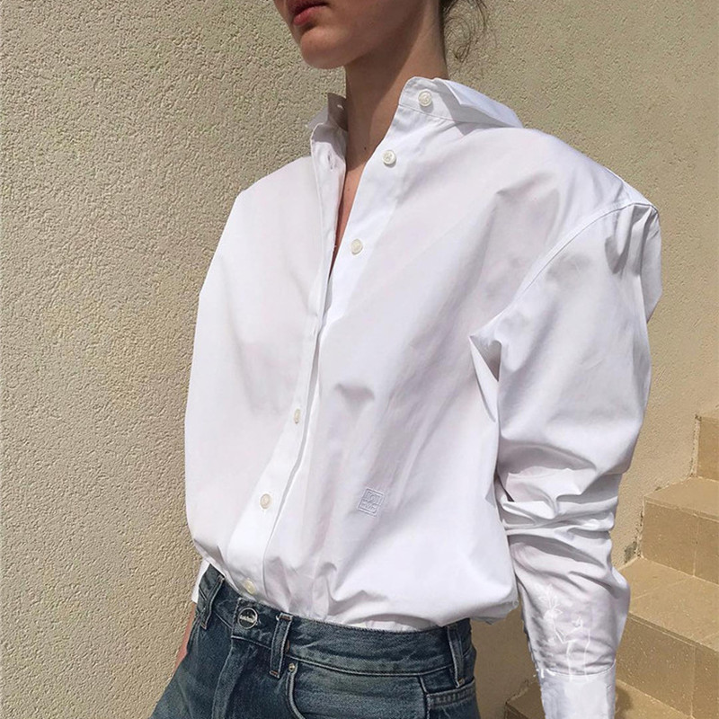 Women   blouse     shirt   100% cotton white light yellow blusas boy friend style high quality oversized tops 2019 new ins fashion