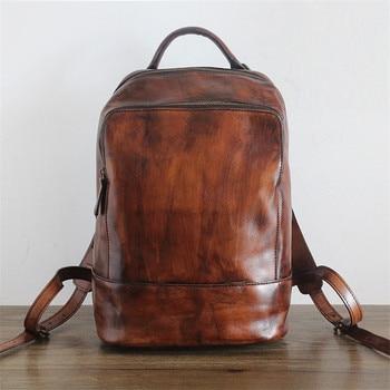Nesitu Vintage Handmade Women's Backpacks Lady Shoulder Bags Genuine Leather Backpack Women High Capacity Backpack Female #PD211