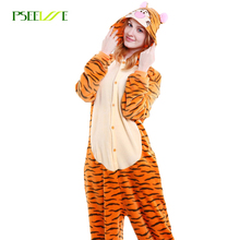Kigurumi Adult Unisex Flanel Animal Pyjama Tiger Leuke Cartoon Onesie Cosplay Winter Warm Vrouwen Nachtkleding Kerst Pyjama