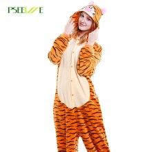 Kigurumi adulto unisex flanela animal pijamas tigre bonito dos desenhos animados onesie cosplay inverno quente mulher pijamas natal