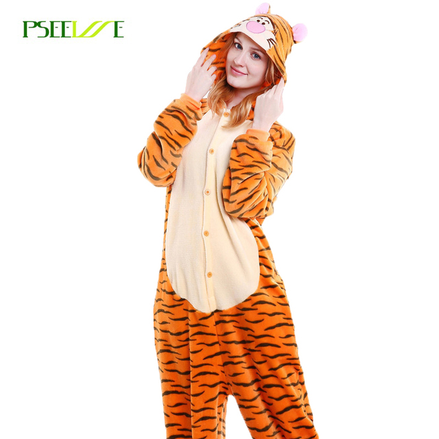 Tiger onsie onesie women tiger Adults Flannel Pyjama Animal Costumes Adult Cute Cartoon Animal Onesies funny  sc 1 st  AliExpress.com : animal costumes adults  - Germanpascual.Com