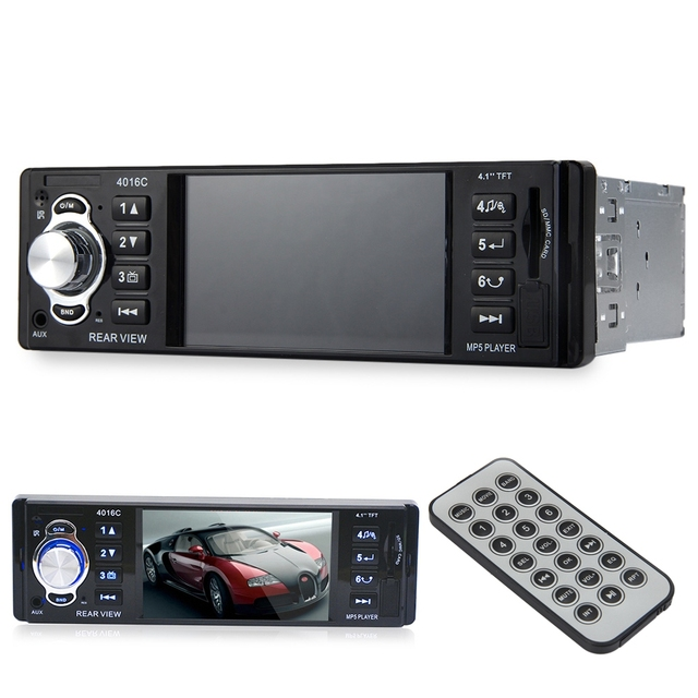 ¡ Venta caliente! 4016C 4.1 Pulgadas HD de Pantalla 1 DIN Coche Reproductor de Vídeo Auto FM Radio Audio Estéreo Reproductor MP5 Coche con USB SD AUX Puertos LCD D