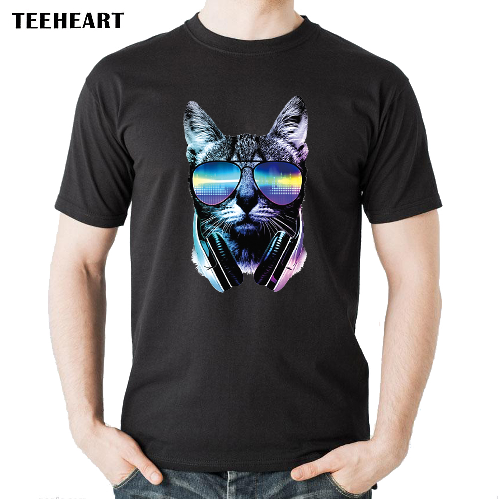 2017 Mens Summer DJ Music Cat Printed Short Sleeve Cotton T-Shirt Plus Size Cool Tops Soft Tee cb015