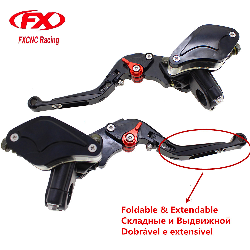 7/8 22MM Fold Extend Motorcycles Master Cylinder Reservoir Hydraulic Brake Clutch Lever For 50CC-300CC Motorbike Street Bike 7 8 22mm universal motorcycles brake clutch levers master cylinder reservoir for suzuki 125 300cc moto hydraulic brake lever