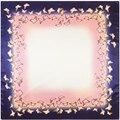 2017 New Arrival Luxury Brand 100%Twill Silk Woman Scarf Square Scarf Solid Butterfly Print Silk Scarf&Wraps Hijab 90cm x 90cm