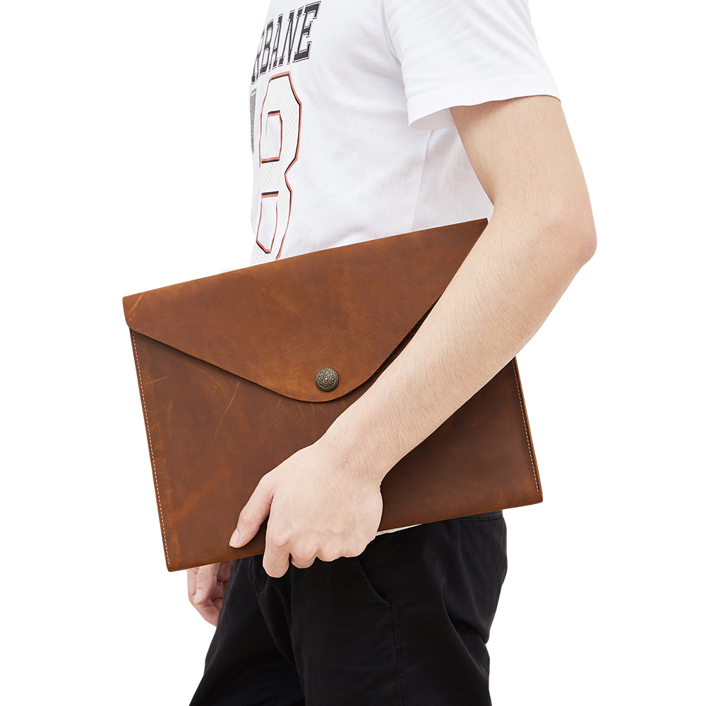 Wholesale 2019 Crazy Horse Genuine Leather Hand Holding Briefcase For A4 File Package Macbook Portfolio For IPAD Black&brown
