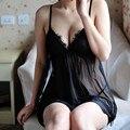 Sexy Camisón Más Tamaño 3XL Sexy Nightgwon Nightgwowns Mujeres Camisón de Dormir Con la G-secuencia Tangas Corto Negro Tentación