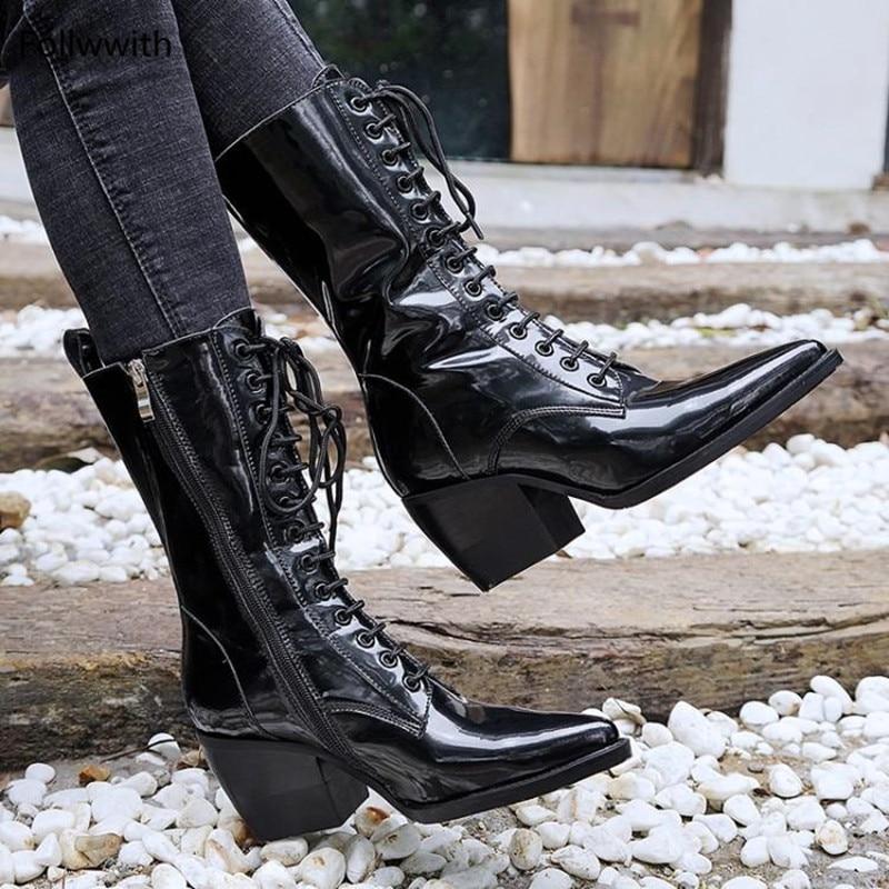 Shown Dedo Otoño Tacones Puntiagudo As De as 2018 Botas Lace Mujer Nueva Altos Pie Tobillo Verano Cuero Botines Shown Bloque Del Genuino Up Zapatos Mujeres rXw7Bxr