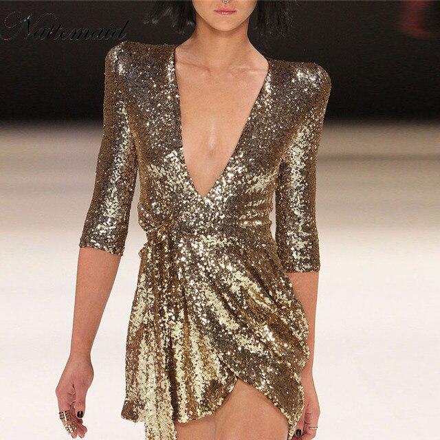 NATTEMAID Мода 2017 г. новый блесток платье для женщин золотые и черные мини-платья Глубокий v образным вырезом Половина рукава vestidos