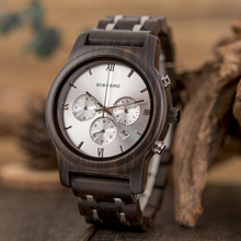 BOBO BIRD Chronograph Mens Watch Wooden and Stainless Steel