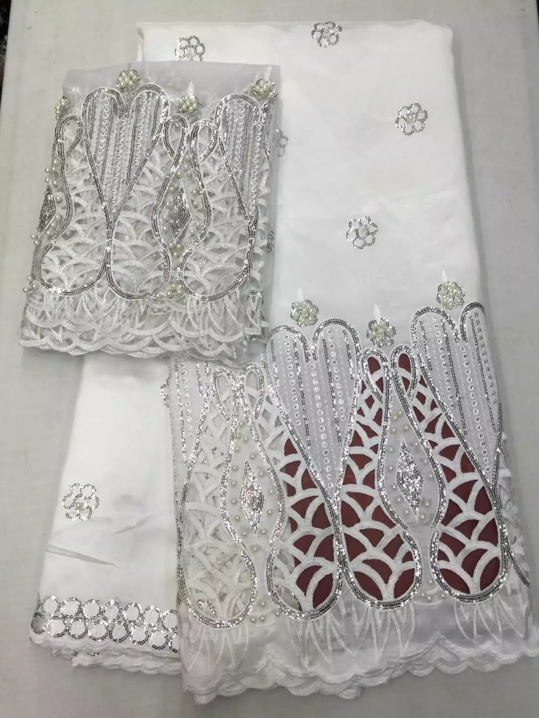 Beaded Lace Fabric 2017 High Quality White African George Fabric with Blouse Hojilou Nigerian Lace Fabrics