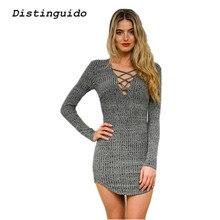 Повседневное v-образным вырезом Кружево до длинный вязаный Платья-свитеры Для женщин Тонкий Bodycon платье пуловер женский Осень Демисезонный платье dr1803
