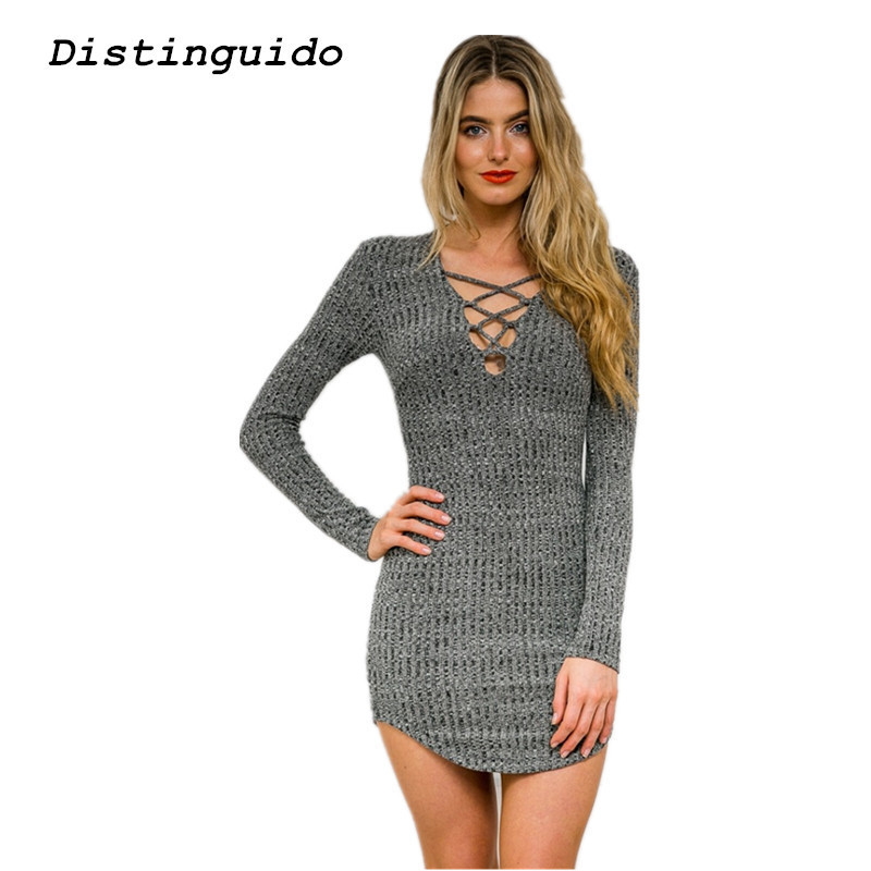 Casual V-Neck Lace Up Long Knitted Sweater Dress Women Slim Bodycon Dress Pullover Female Autumn Spring Autumn Dress DR1803