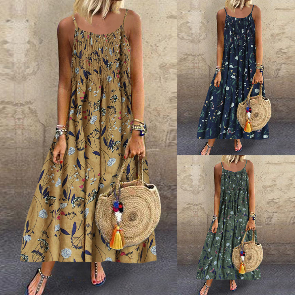 Summer Linen Loose Dress Plus Size M-5XL Women Vintage Bohemian Print Floral Sleeveless O-Neck Straps Maxi Dress 7 Colors платье