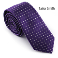 Tailor Smith Purple Polka Dot Necktie Pure Silk Woven Violet Tie Mens Formal Wedding Office Cravat Neckwear Christmas Gift
