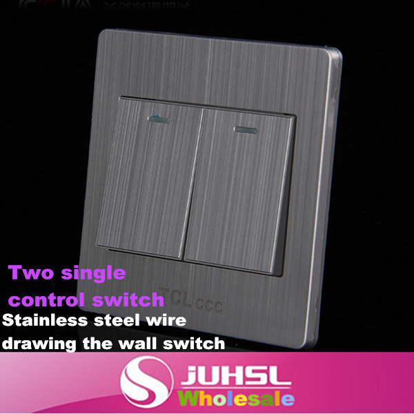 86 stainless steel brushed silver wall two hole single control switch, touch light switch, lighting control switches, 3x smeong stainless steel wiredrawing two gang power control wall switch silver