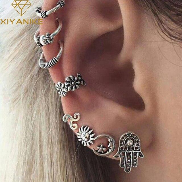 XIYANIKE 8Pcs/Set Bohemia Punk Style Ancient Silver Color Palm Earring Sets Hope