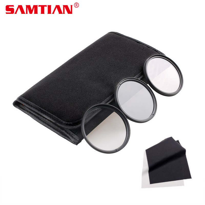 SAMTIAN 49/52/55/58/62/67/72/77MM Altura Photo Photography Filter Kit UV/CPL/ND4 for Camera Lens with 77MM Filter Thread