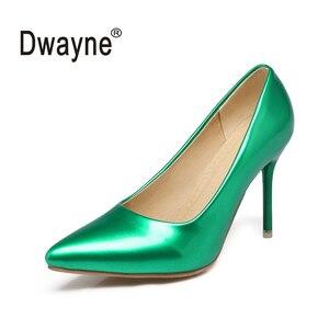 Женские туфли-лодочки на высоком каблуке 9 см; Большие размеры; PG37; Новые вечерние женские туфли из искусственной кожи; Свадебные туфли; chaussure...