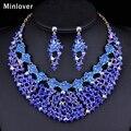 Minlover Cor Azul Africano Pérolas Conjunto de Jóias de Cristal Longo Brincos e Colar Gargantilha para As Mulheres Conjuntos de Jóias Indianas TL392