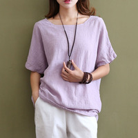 2016 Summer New O Neck Short Sleeve Linen Women Blouse Shirts Solid Loose Casual White Blouse