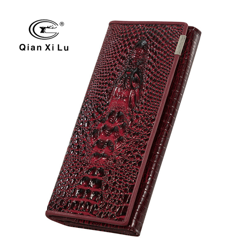 Qianxilu 2018 Women Leather Wallets Luxury Design 3d Crocodile Pattern Long Wallets Hasp Trifold Purses Coin Pocket Card Holder