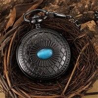 Black Mechannical Pocket Watch Steampunk Antique Luxury Skeleton Roman Numerals Fob chain Watch With Chain Women Men Gift