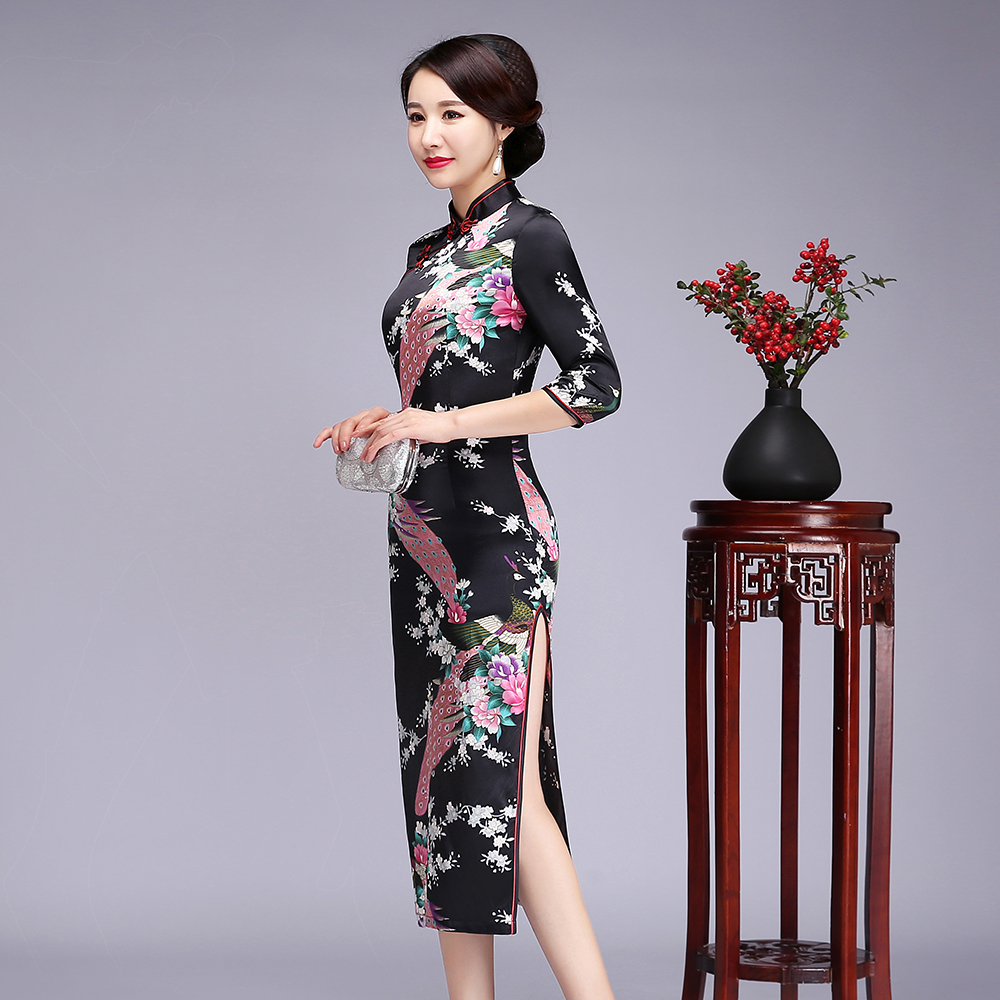 SEXY BLACK Chinese Women Cheongsam Plus Size 5XL 6XL Qipao Novelty Print Peacock&Flower Evening Party Dress Spring Vestidos